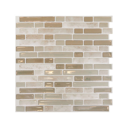 Smart Tiles Mosaik High-Gloss Mosaic in Light Beige (Set of 6)