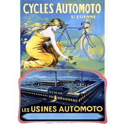 """ArteHouse Fine Art Print """"Cycles Automoto Ad"""" by Artist Francisco Tamagno, Archival Paper, 24"""" x 36"""""""