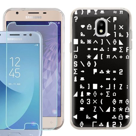 Phone Case for Samsung Galaxy J3 Orbit / J3 Star / J3 Achieve / Express Prime 3, Slim-Fit TPU Case with Tempered Glass Screen Protector, by OneToughShield ® - Daily Symbol