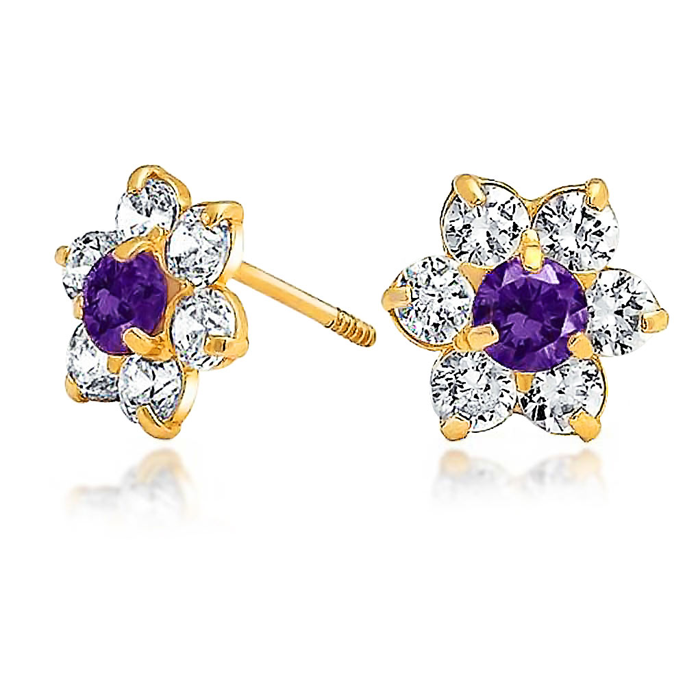 Bling Jewelry Kids Simulated Amethyst CZ Screw Back Flower Studs 14k Gold