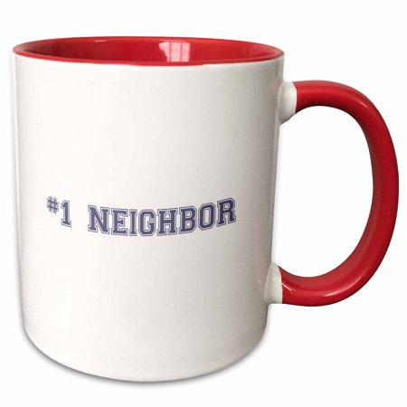 3dRose #1 Neighbor - Number One Neighbor - Gifts for worlds best and greatest neighbors in the neighborhood - Two Tone Red Mug,
