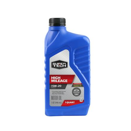 (3 Pack) Super Tech High Mileage SAE 5W-20 Motor Oil, 1 qt