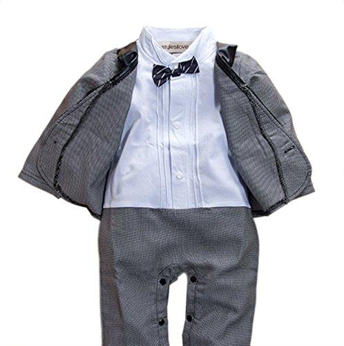 stylesilove Baby Boy Short Sleeve Glossy Lapel Tuxedo Onesie
