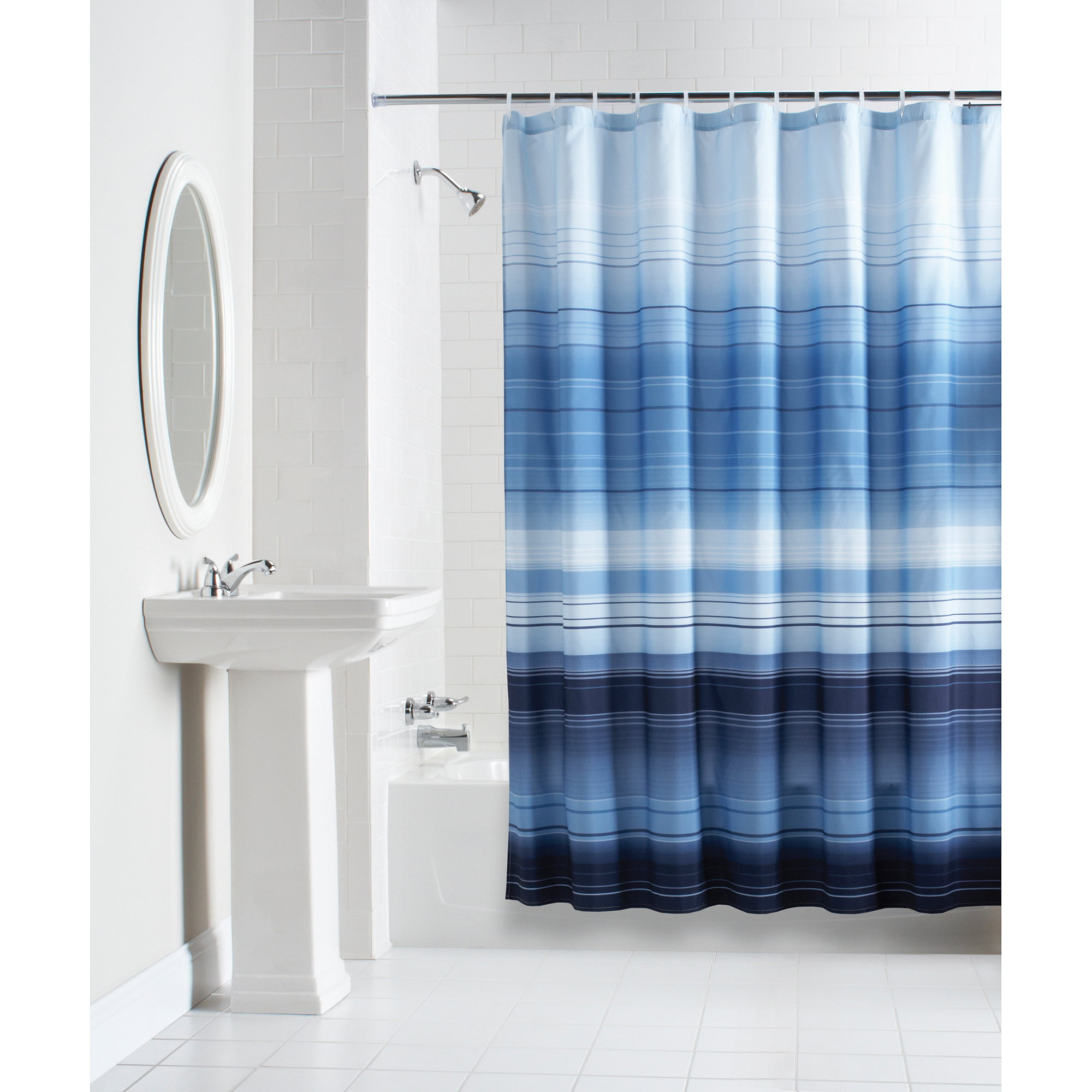 Blue bathroom curtains - Mainstays Ombre Stripe Fabric Shower Curtain Blue Shower Curtains