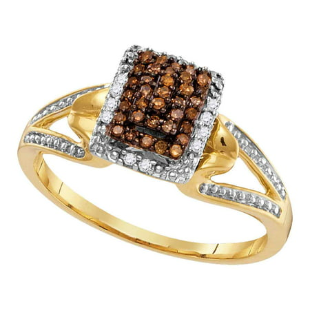 Size 7 - 10k Yellow Gold Round Chocolate Brown Diamond Cluster Ring 1/6 Cttw ()