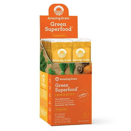 Amazing Grass Immunity Green Superfood Powder, Tangerine, 15 (Best Foods For Immunity)