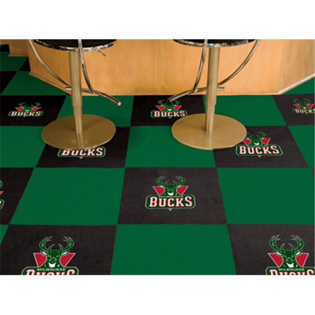 FANMATS 9328 Milwaukee Bucks Carpet Tiles 18 in. x 18 in. tiles