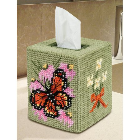 Mary Maxim Monarch Butterfly Tissue Box Cover Plastic Canvas Kit (Monarch Butterfly Kits)