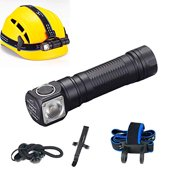 Skilhunt H04 LED Headlamp 18650 EDC Flashlight Max 1200 LED Lumens Waterproof Cree LED Headlight for Outdoor Sports Camping Light FloodLight(Neutral Light)
