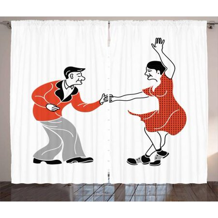 Retirement Party Curtains 2 Panels Set, Retro Fashion Style Old Couple Dancing Swing Having Fun, Window Drapes for Living Room Bedroom, 108W X 96L Inches, Black Vermilion Pale Grey, by Ambesonne (Bedroom Fun Ideas Couples)