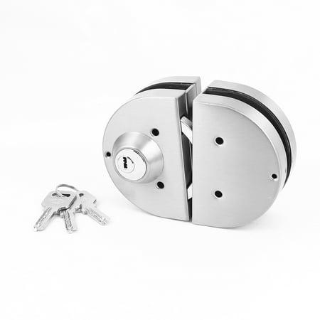 Pair Silver Tone Metal Semi Circle 2 Bolts Door Lock For