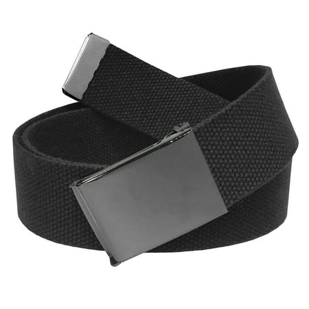 Men's Golf Belt in 1.5 Polished Pewter Flip Top Buckle with Canvas Web Belt Small Black
