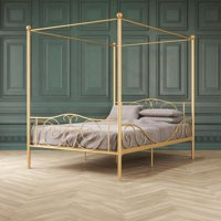 DHP Canopy Metal Bed, Full Size Frame, Gold