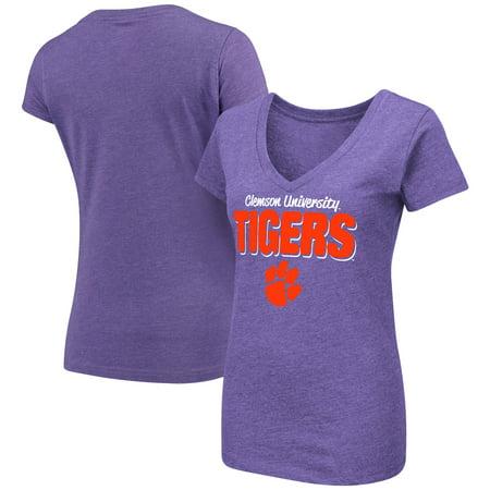 Bold Tigers - Clemson Tigers Colosseum Women's Mascot Bold V-Neck T-Shirt - Purple