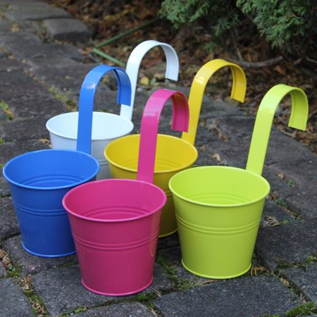 Large Hanging Tin Metal Basket Bucket Planters Pot Assorted Colors Set of 5 Wall Mountable Multicolor Set For Plant and Flower (Flower Shop Tin)