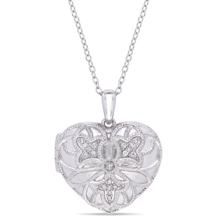 Diamond-Accent Sterling Silver Filigree Heart Locket Pendant Diamond Filigree Pendant Necklace