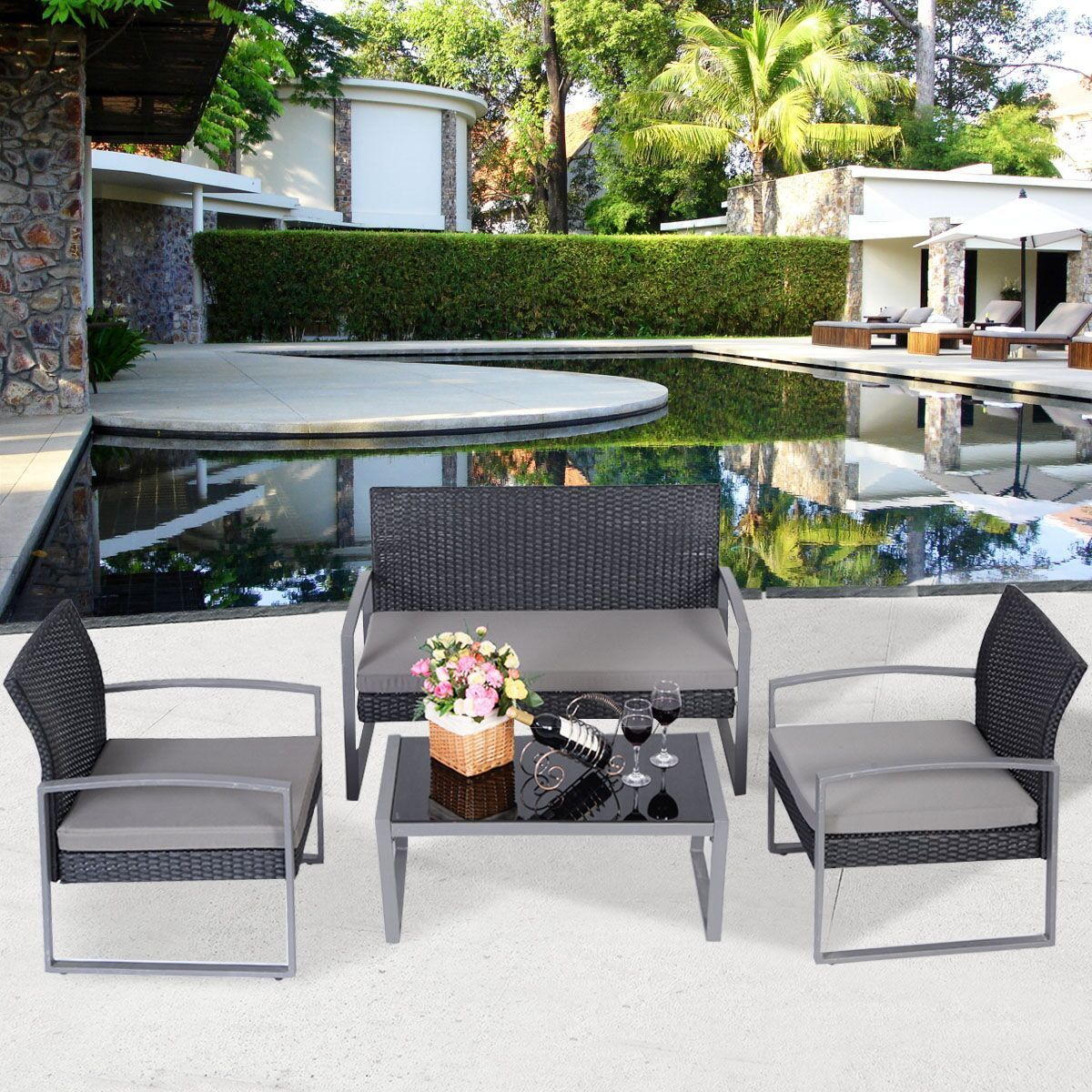 Costway 4 PCS Outdoor Patio Garden Black Rattan Wicker Sofa Set Furniture Cushioned by Costway