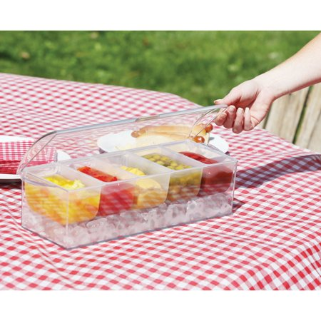 Icy Cold Condiment Server - Plastic Portable Picnic Party Serving Tray](Server Tray)