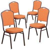 Flash Furniture 4 Pk. HERCULES Series Crown Back Stacking Banquet Chair in Orange Fabric - Copper Vein Frame