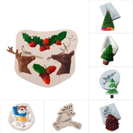 CUH Christmas Silicone Mold Series of Various Fondant Cakes Mold Baking Decorative (Contemporary Christmas Cakes)