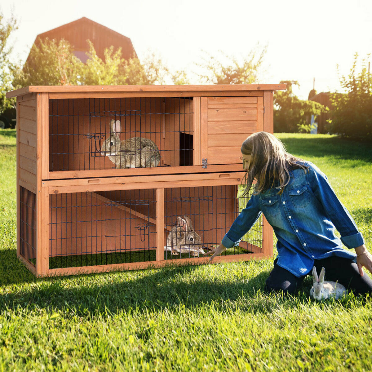 Gymax Large Chicken Coop Rabbit Hutch Garden Backyard Wood Hen House Poultry Cage - image 10 of 10