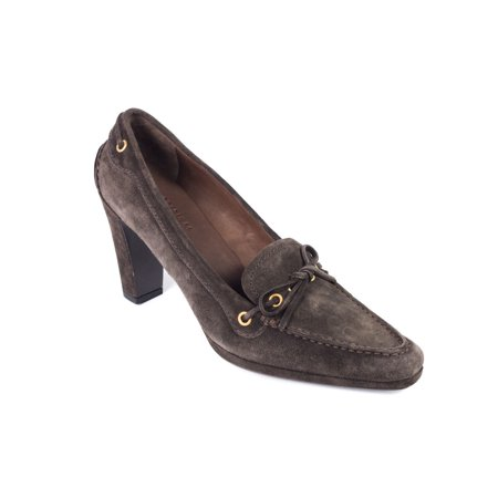 Car Shoe By Prada Brown Suede Tie Pointed Pumps