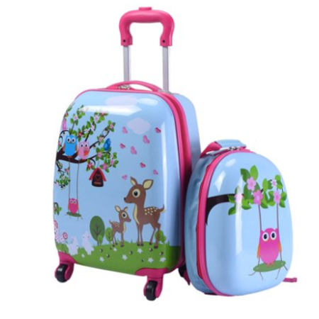 Jaxpety 2Pc Kids Carry On Luggage and Backpack Upright Hard Side Hard Shell Suitcase 12