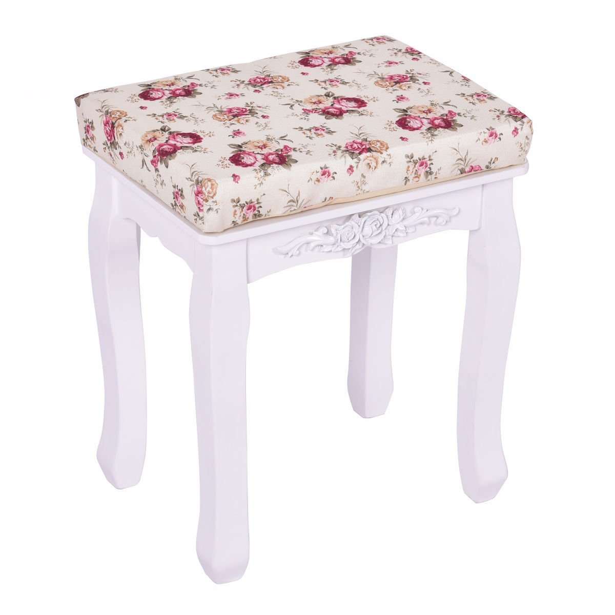 white vanity wood dressing stool padded chair makeup piano seat with cushion vanity seat task