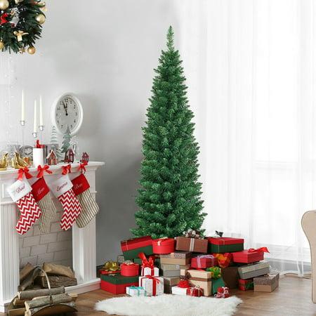 Gymax  5' PVC Artificial Christmas Tree Holiday Decor Slim Pencil Tree Metal Stand ()