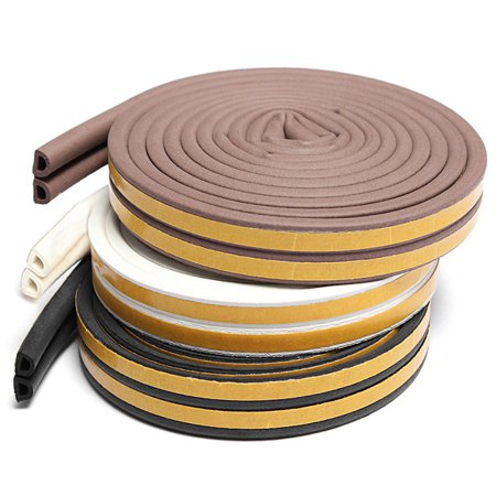 5M D Type Draught Excluder Self-Adhesive Weather Stripping Weatherstrip Rubber Foam Seal Strip For Door & Window, (1968 Window Weatherstrip)