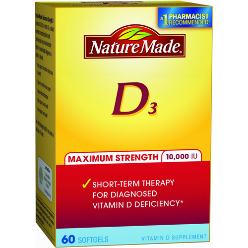 Nature Made Maximum Strength D3 Dietary Supplement Softgels, 10000 IU, 60 count