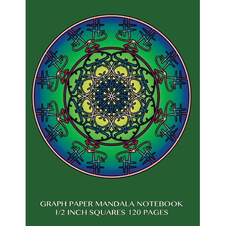Graph Paper Mandala Notebook 1/2 Inch Squares 120 Pages: 8.5 X 11 Inch Notebook with Green Cover, Graph Paper Notebook with Two Squares to an Inch, Perfect Bound, Ideal for