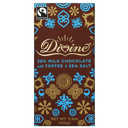 Divine 38% Milk Chocolate with Toffee & Sea Salt Bar, 3.5 oz, (Pack of 10) by