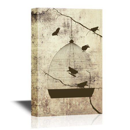 Birdcage Canvas - wall26 Canvas Wall Art - Birds and Bird Cage on Abstract Vintage Background - Gallery Wrap Modern Home Decor | Ready to Hang - 24x36 inches