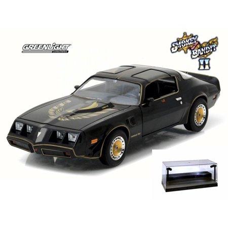 Diecast Car w/LED Display Case - Smokey and The Bandit II 1980 Pontiac Firebird T/A Turbo 4.9L T-Top, Black - Greenlight 84031 - 1/24 Scale Diecast Model