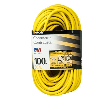 Woods 992555 12-Gauge Extra Heavy Duty 100 ft Extension Cord, Yellow 3 Prong Outdoor Extension Cord with Cord Clip, Water Resistant, Reinforced Blades, SJTW High Visibility Vinyl -