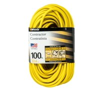 Woods 992555 12-Gauge Extra Heavy Duty 100 ft Extension Cord, Yellow 3 Prong Outdoor Extension Cord with Cord Clip, Water Resistant, Reinforced Blades, SJTW High Visibility Vinyl Jacket