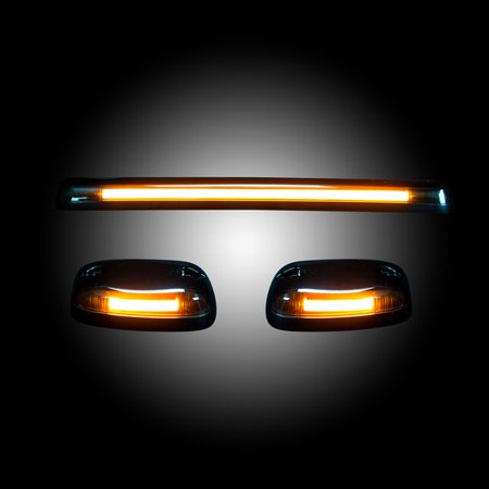 2007 2008 2009 2010 2011 2012 2013 Chevrolet Silverado 2500 3500 NEW LED replacement AMBER LED BAR smoked tinted roof cab lights OLED BAR ()