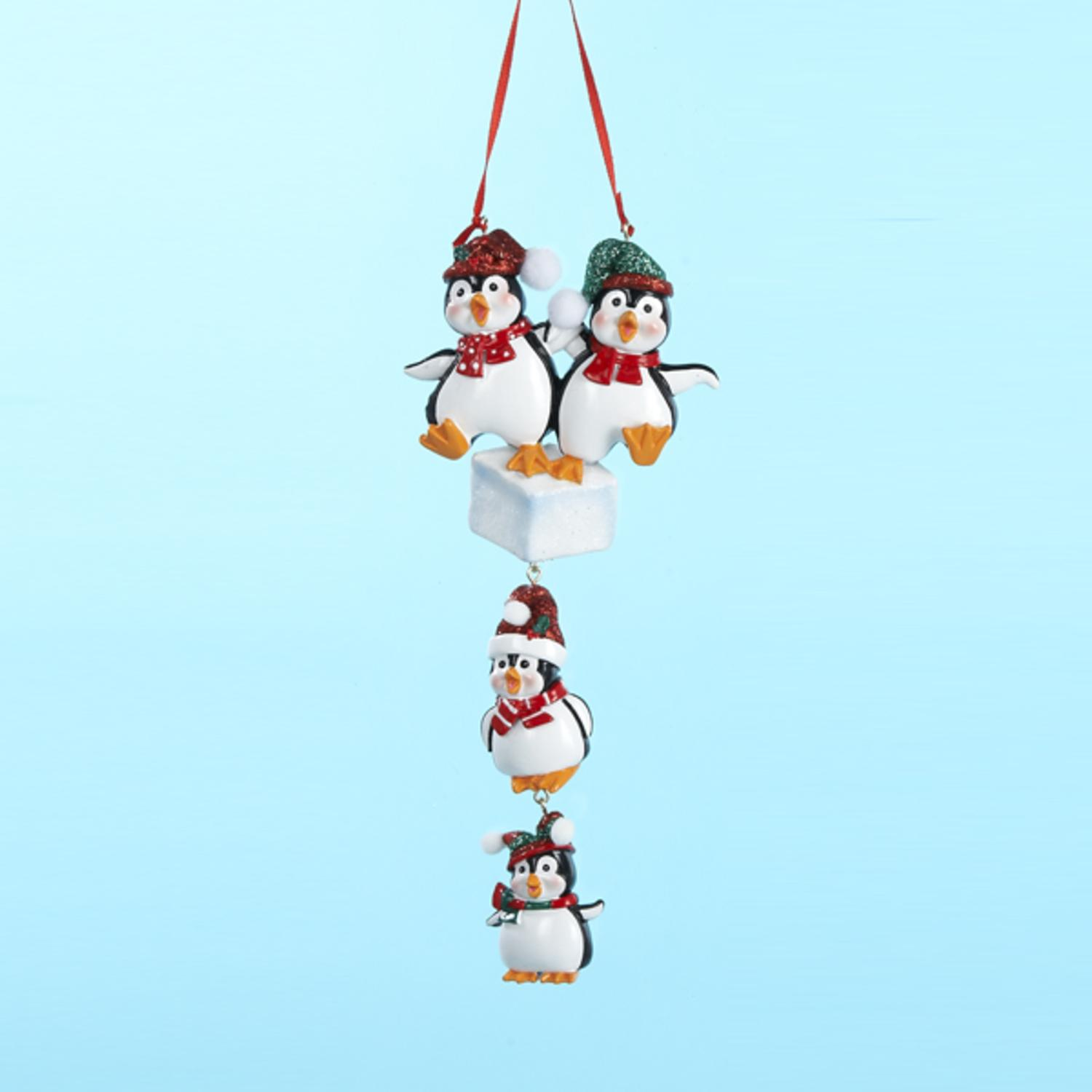 """Pack of 12 Penguin Family of 4 Christmas Ornaments for Personalization 4.25"""""""