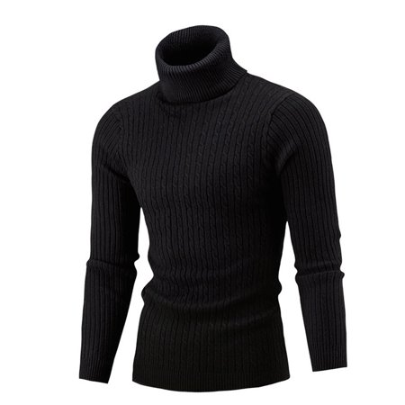 Men Winter Knitted Turtleneck Collared Slim Fit Lightweight Soft Fitted Pullover