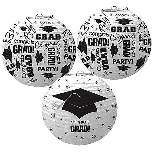Grad Printed Lanterns, White