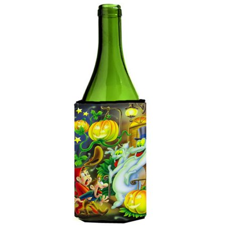 Scary Ghosts & Halloween Trick or Treaters Wine Bottle Can cooler Hugger - Wine Bottle Covers Halloween