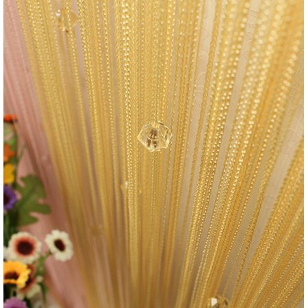 NK Rod Pocket Beauty String Tassel Curtain for Bedroom Crystal Beads Door Window Panel Room Divider Decor 1x2m