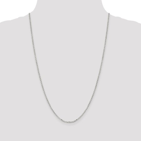 925 Sterling Silver 2mm 8 Side Diamond-cut Cable Chain 18 Inch - image 2 of 5