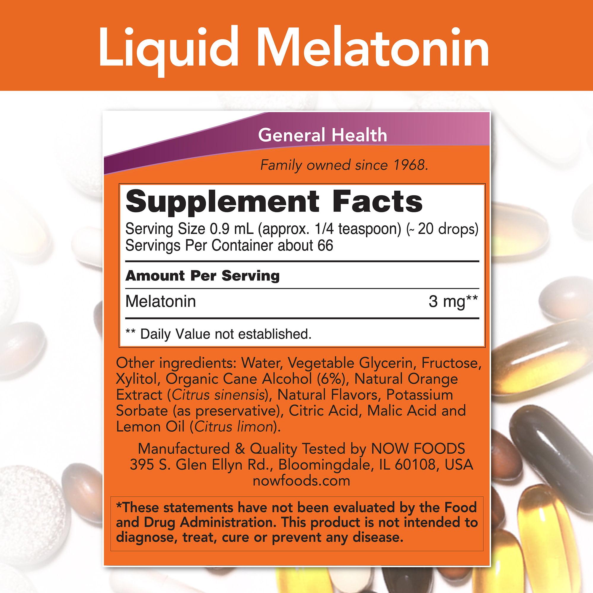 NOW Supplements, Liquid Melatonin, 3 mg Per Serving, Fast ...