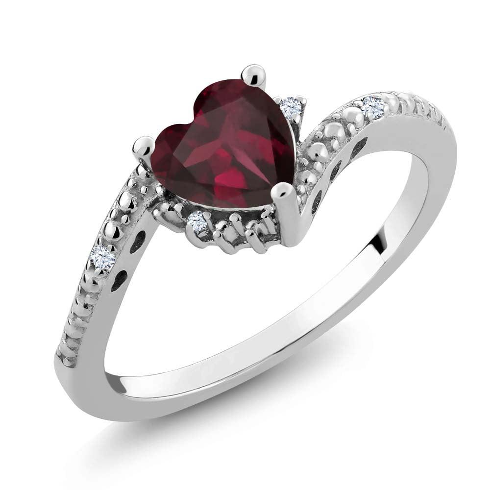 0.75 Ct Red Rhodolite Garnet White Created Sapphire 18K White Gold Ring