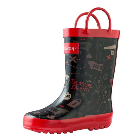 Oakiwear Kids Rain Boots For Boys Girls Toddlers Children, Pirate Treasure