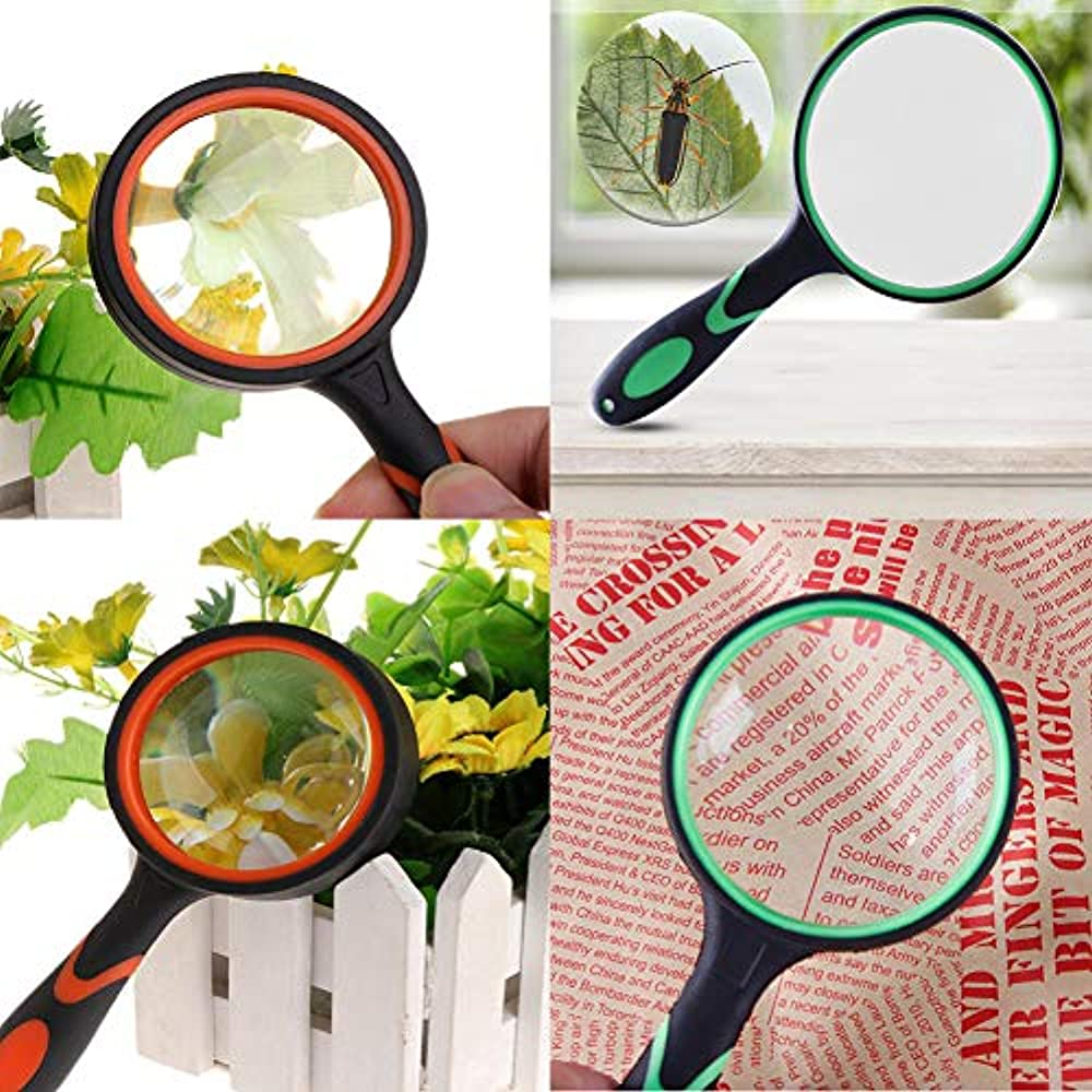 Science Insect and Observation Orgrimmar 2 PCS 10X Handheld Magnifying Glass-75mm Magnifying Glass Lens Thickened Rubbery Frame with Non-Slip Soft Handle for Book Newspaper Reading