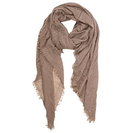 Peach Couture Women's Sparkle Sequin Bohemian Sheer Woven Knit Fringe Scarf (Woven Fringe Scarf)