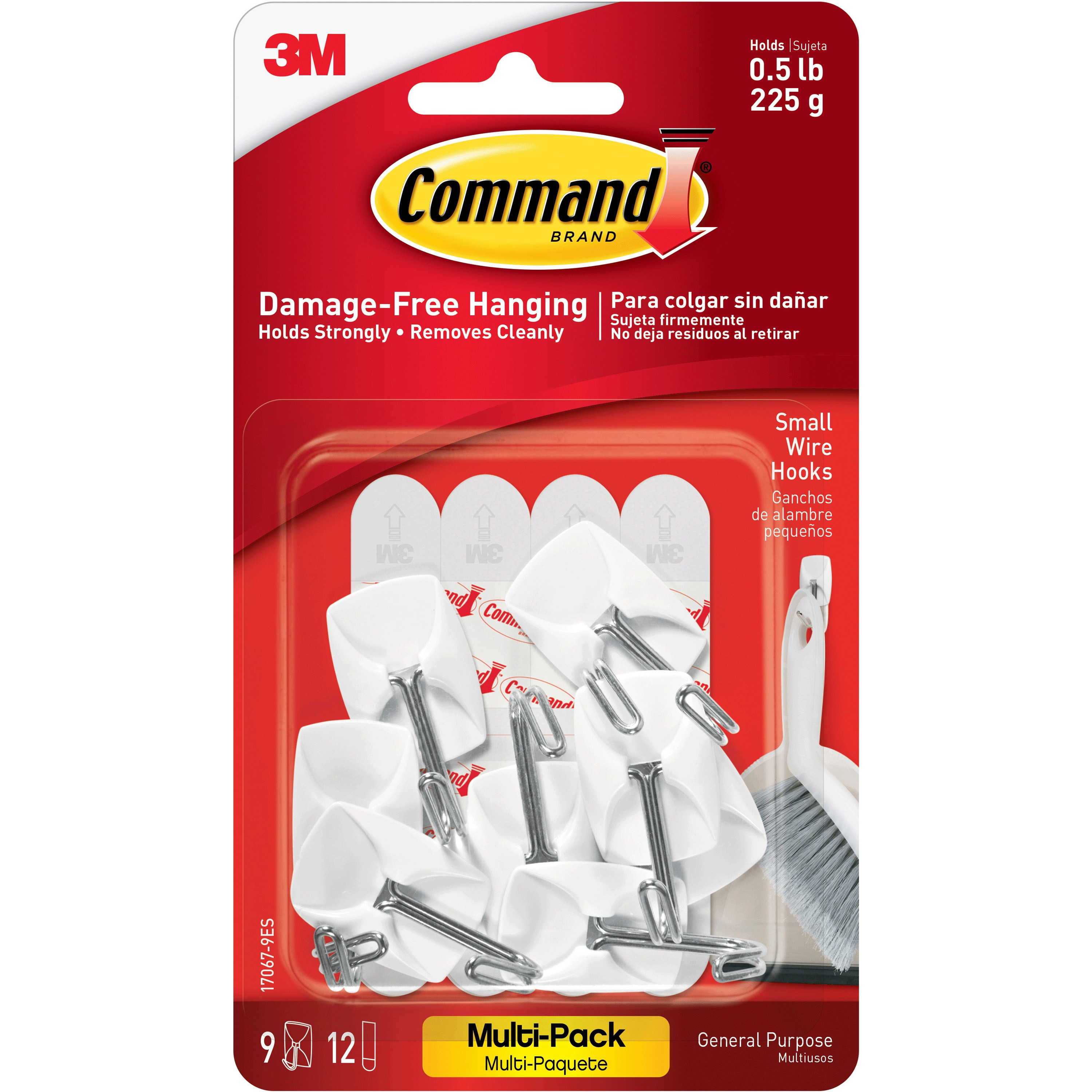 Command Wire Hooks Value Pack, White, Small, 9 Hooks, 12 Strips/Pack